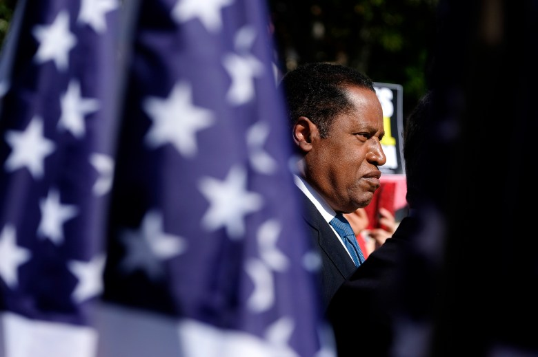 Republican conservative radio show host Larry Elder speaks at a rally for the California gubernatorial recall election on Sept. 13, 2021, in Monterey Park. Photo by Ringo H.W. Chiu, AP Photo