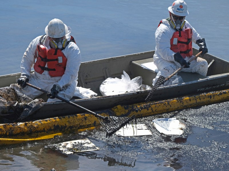 Cleanup contractors deploy skimmers and floating barriers to try to stop further oil crude incursion into the Wetlands Talbert Marsh in Huntington Beach on Oct. 3, 2021. One of the largest oil spills in recent Southern California history fouled popular beaches and killed wildlife while crews scrambled Sunday to contain the crude before it spread further into protected wetlands. Photo by Ringo H.W. Chiu, AP Photo