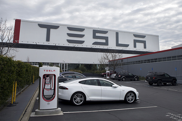 Teslas are lined up at the Tesla Motors complex in Fremont on Jan. 28, 2016. LiPo Ching/Bay Area News Group