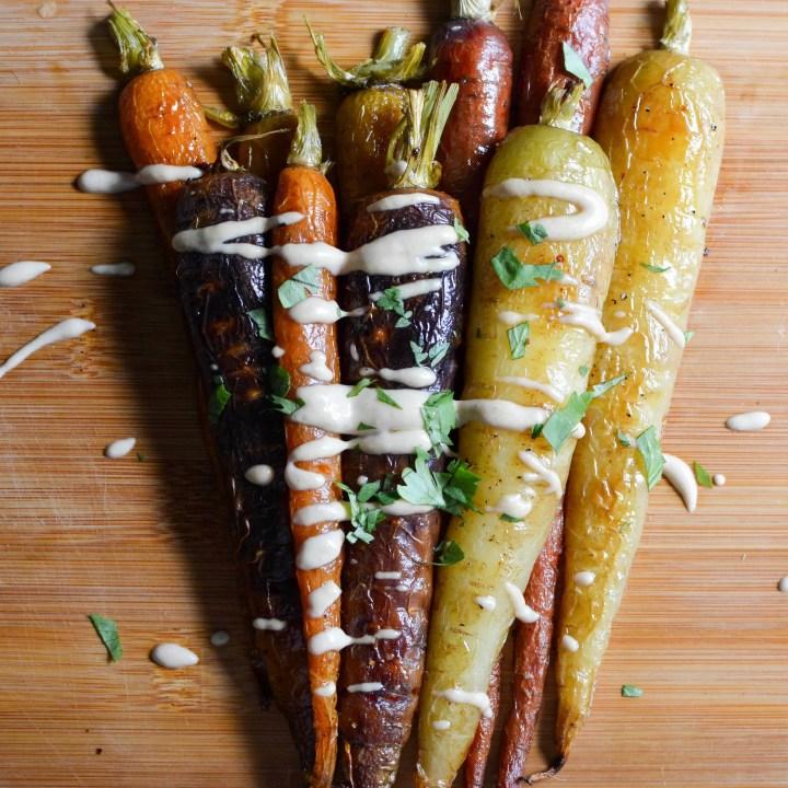 Heirloom Roasted Carrots with a Simple Lemon Tahini Dressing