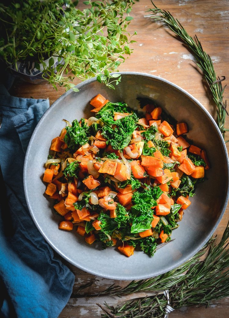 Sweet Potatoes with Kale and Caramelized Onions
