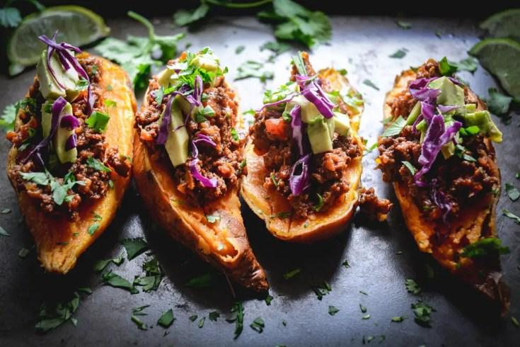 Paleo Chili Stuffed Sweet Potatoes