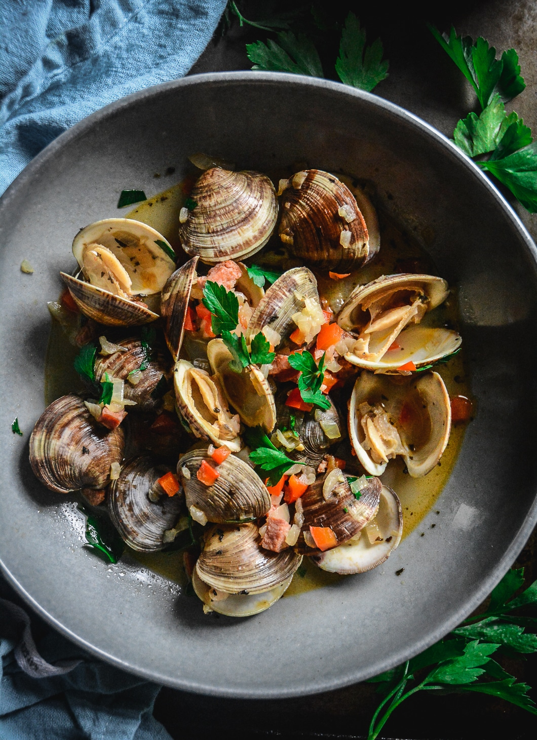 Chorizo and Littleneck Clams in Red Pepper Broth