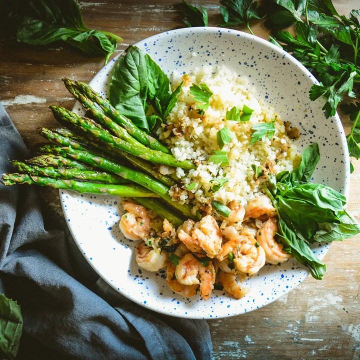 Lemon Shrimp with Asparagus and Cauliflower Rice