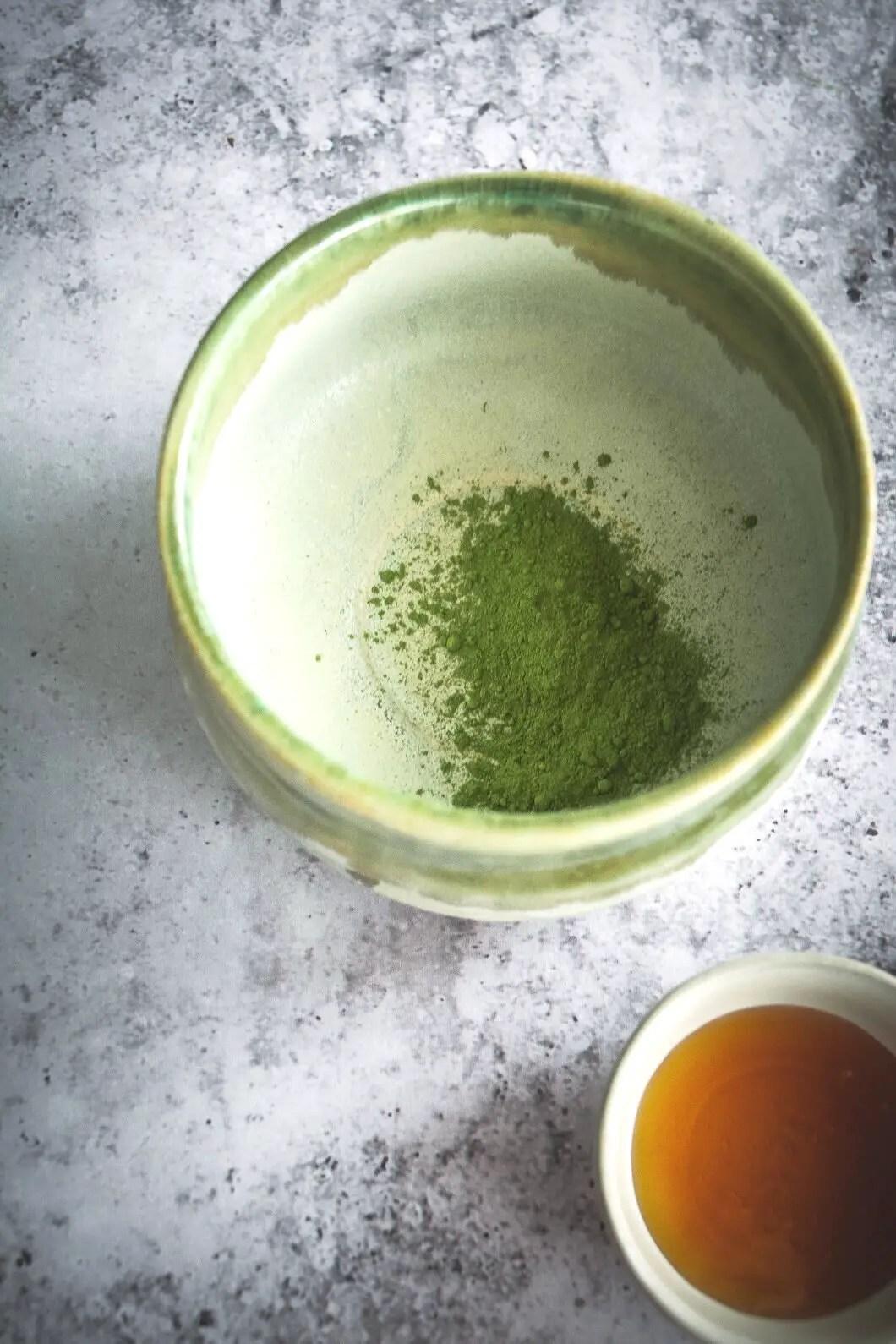 Matcha and moringa in mug