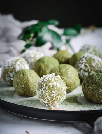 Coconut Cashew Matcha Energy Bites on plate