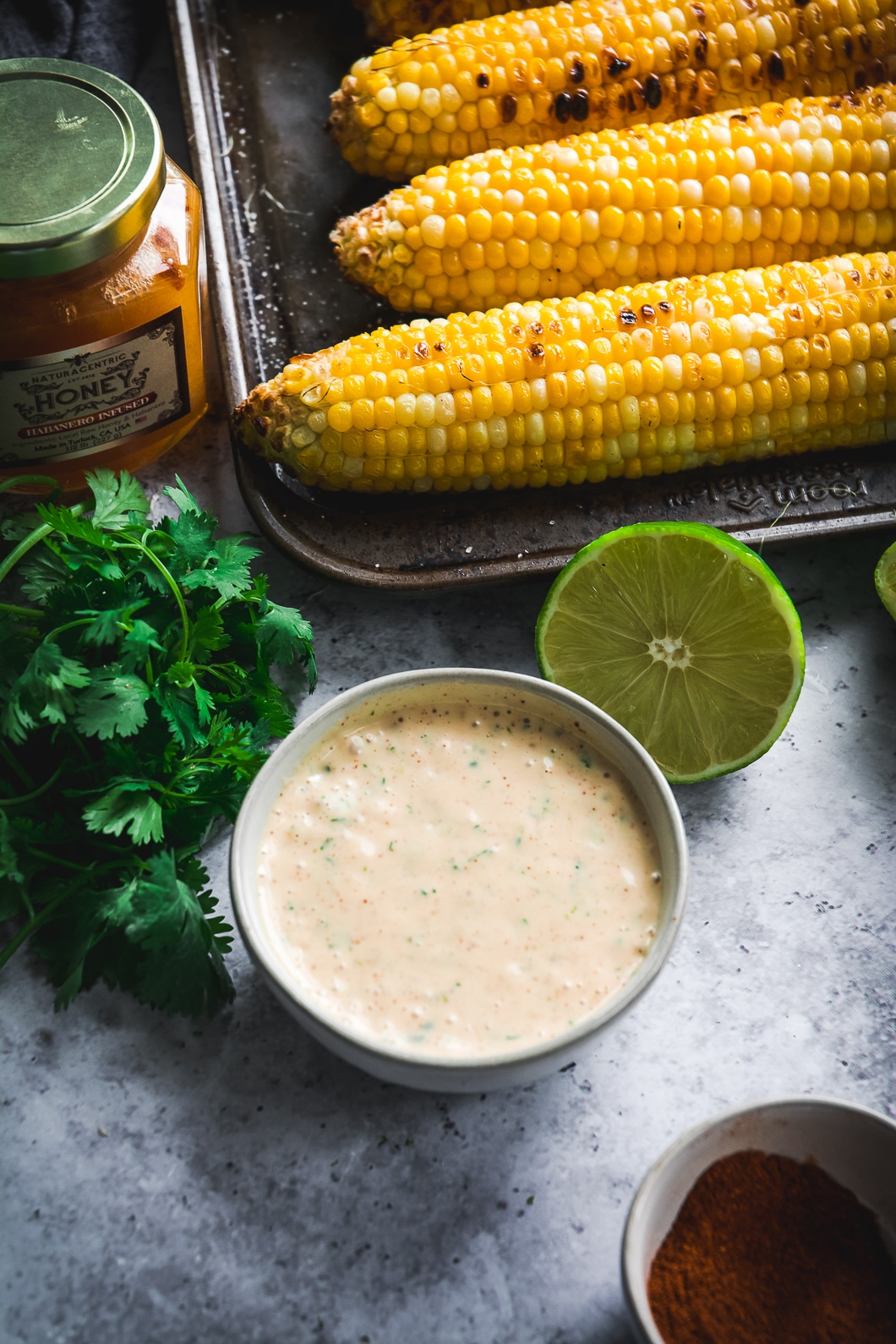 Grilled Corn with habanero mayo, honey, lime and cilantro