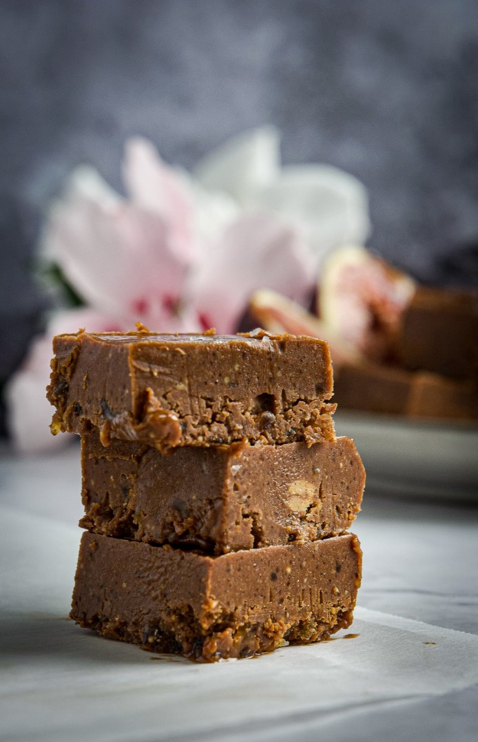 Stacked vegan chocolate fudge