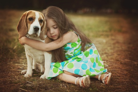 Image showing young girl in a summer dress in a garden hugging a pet dog and enjoying the benefits of hugs as described in this article on CALMERme.com