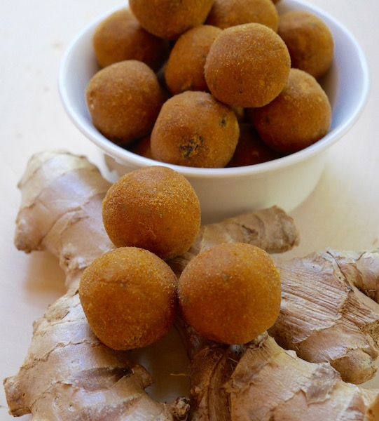 Image of ginger bliss balls, made from chickpeas and gut soothing ginger, from calmerme.com