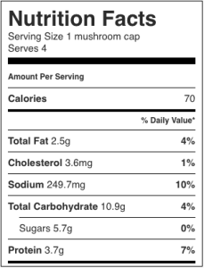 Image shows nutrition label for the healthy stuffed portobello mushroom, as described in the recipe on CALMERme.com