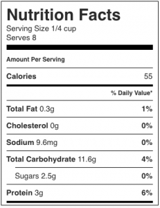 Image shows nutrition label for no fat mushroom pate, as described in this recipe on CALMERme.com