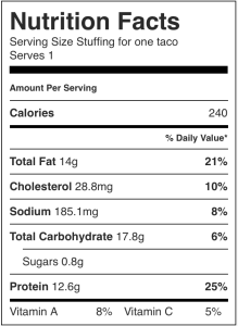 Image shows the nutrition label for a no-refined-carb dinner taco, as described in this recipe on CALMERme.com