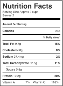 Image shows nutrition label for this recipe for cabbage salad using black beans as the protein, as described on CALMERme.com