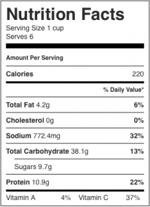 Image shows nutrition label for this recipe for oil free chana masala, as described on CALMERme.com