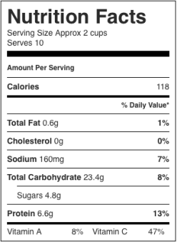 Image shows nutrition label for this recipe for practically instant minestrone, as described on CALMERme.com
