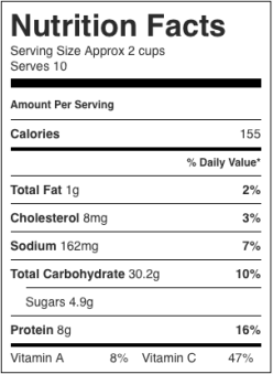 Image shows nutrition label for practically instant minestrone with noodles, as described in this recipe on CALMERme.com