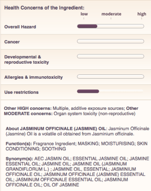 This screen shot shows a rating information about a single ingredient in a hand cream, rated by EWG.org, as described in this post on CALMERme.com