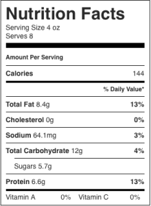 The image shows the nutrition label for one serving of homemade dairy-free cashew yogurt, as described in this recipe on CALMERme.com