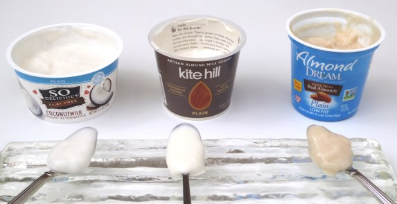 Image shows three sweetened plain yogurts, as described in this post on CALMERme.com