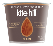 Image shows carton of Kite Hill plain yogurt, as described in this post on CALMERme.com