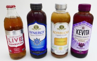Image shows several bottles of kombucha, as described in this post on CALMERme.com