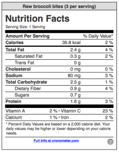 Nutrition facts for raw broccoli bites from CALMERme.com