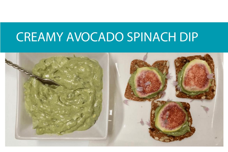 Creamy avocado spinach dip infographic from CALMERme.com