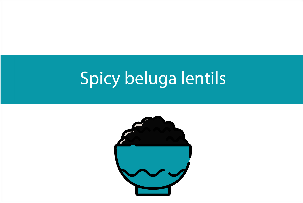 Blogheader for spicy beluga lentils recipe from CALMERme.com