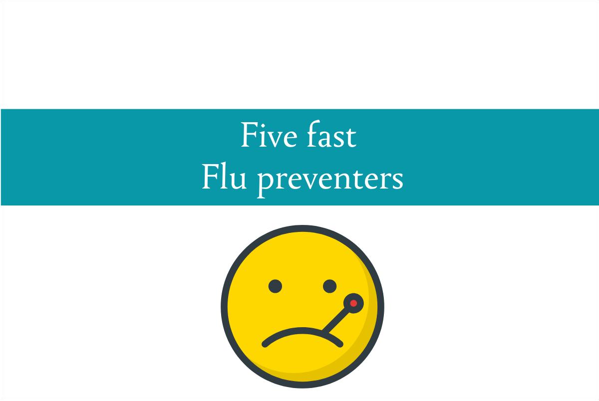 Blogheader for five fast flu preventers from CALMERme.com