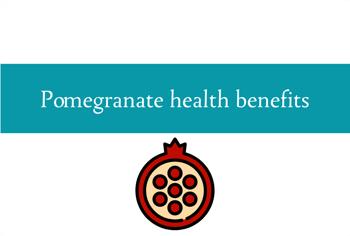 Blogheader about the health benefits of eating pomegranates from CALMERme.com