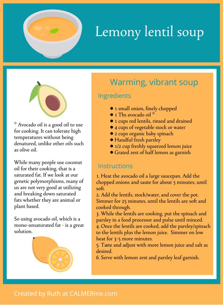 Infographic for lemony lentil soup recipe from CALMERme.com