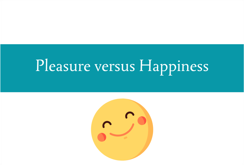 Blogheader for pleasure versus happiness blogpost from CALMERme.com
