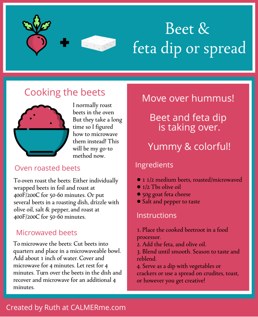 Infographic for beet feta dip or spread from CALMERme.com