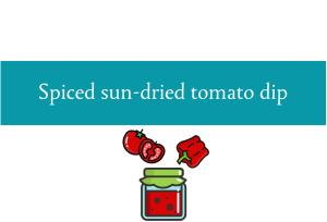 Blogheader for sun-dried tomato spread recipe from CALMERme.com