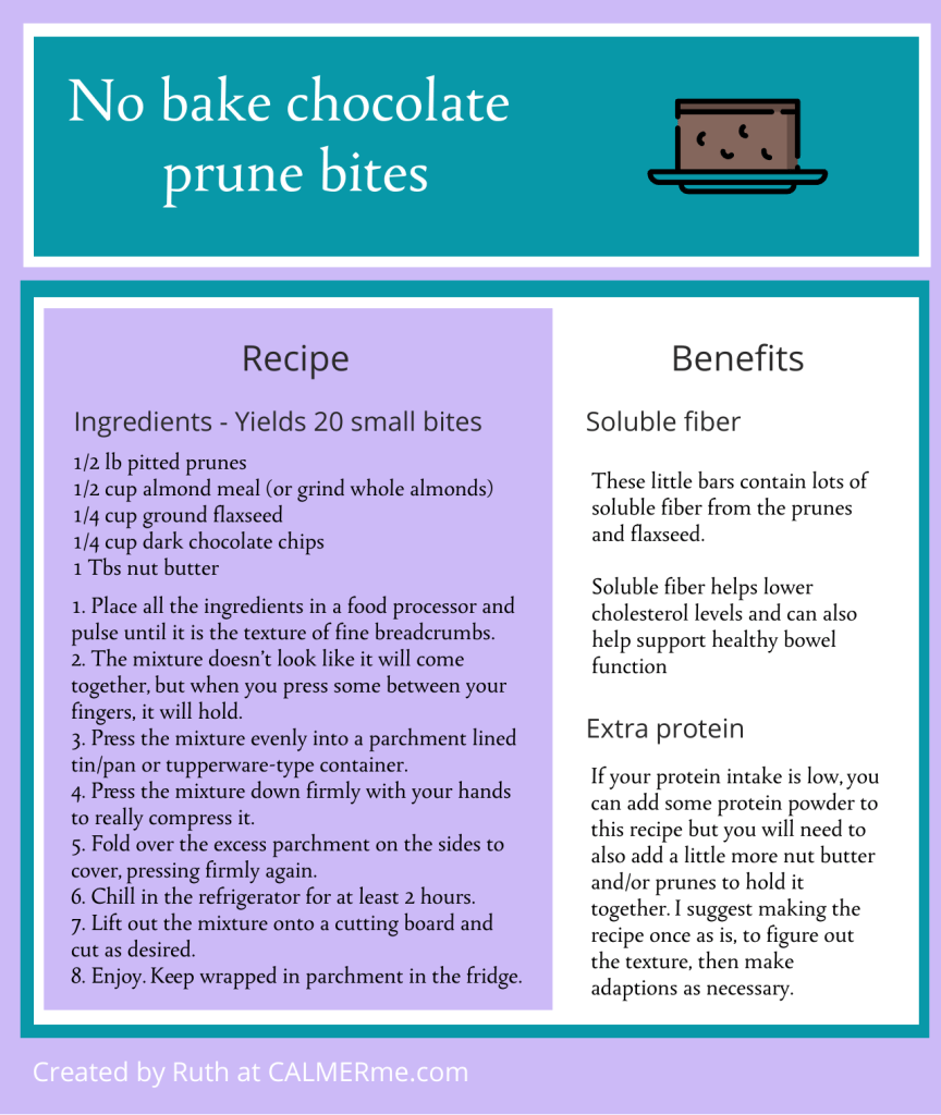 Infographic for chocolate prune bars from CALMERme.com