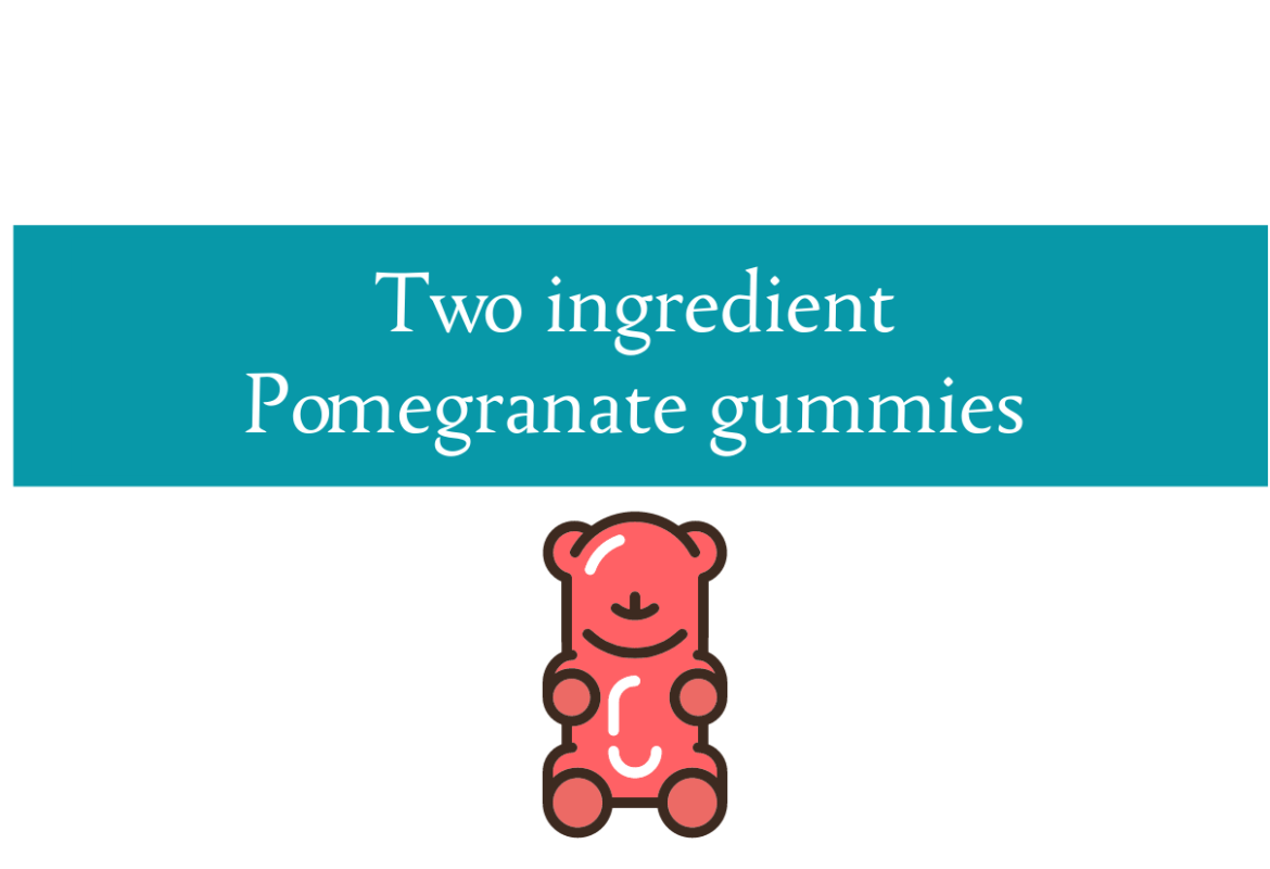 Blogheader for pomegranate gummy bear recipe from CALMERme.com