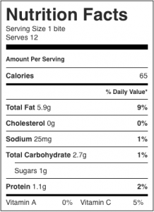 Image shows the nutrition label for a low calorie frozen creamy bite made with orange juice, as described in this recipe on CALMERme.com