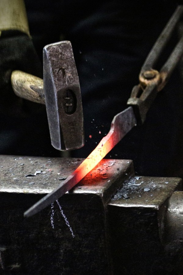 Blade smithing at our forge
