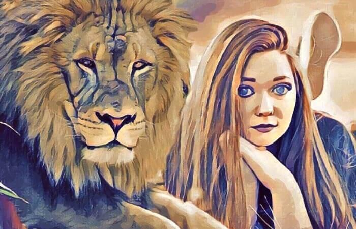Animal Tótem: Cuadro de mujer con un león