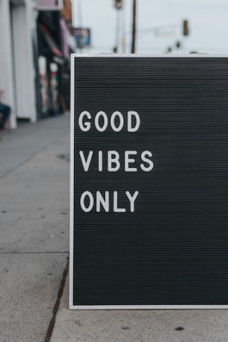 """Sign reading """"Good Vibes Only."""" People believing in the Law of Attraction can easily fall victim to Thought-Action Fusion type thinking. Call the California OCD and Anxiety Treatment Center for treatment in Orange County and online therapy in California and Montana."""