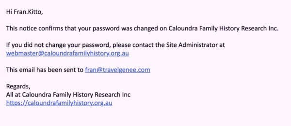 Figure x - Password is changed email