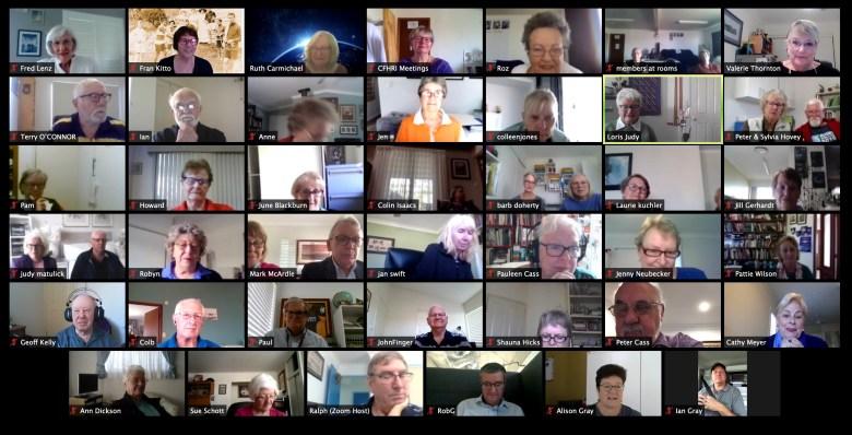 AGM meeting via Zoom where Loris Gray was presented Life Membership