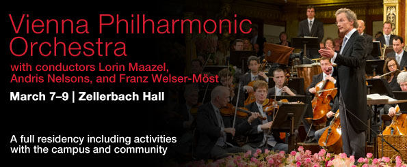 Vienna Philharmonic Orchestra. conductors Daniele Gatti, Andris Nelsons, and Franz Welser-Most. March 7-9, 2014. A full residency including activities with the campus and community