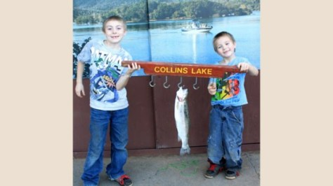 Ian and Gregory caught this trout at Collins Lake.