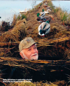 Author Bill Adelman is comfortable in his duck blind in the late fall and winter.