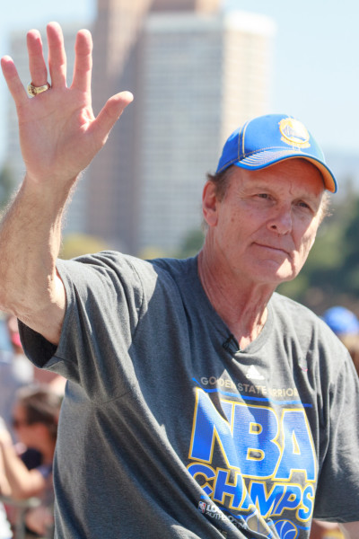 Barry at the Warriors' 2015 NBA championship parade in Oakland.