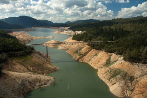 This March 2, 2015 photo of Lake Oroville shows how the drought affected the lake's water level. But the recent surge of rain has risen the lake level significantly. (PAUL HAMES/DEPARTMENT OF WATER RESOURCES