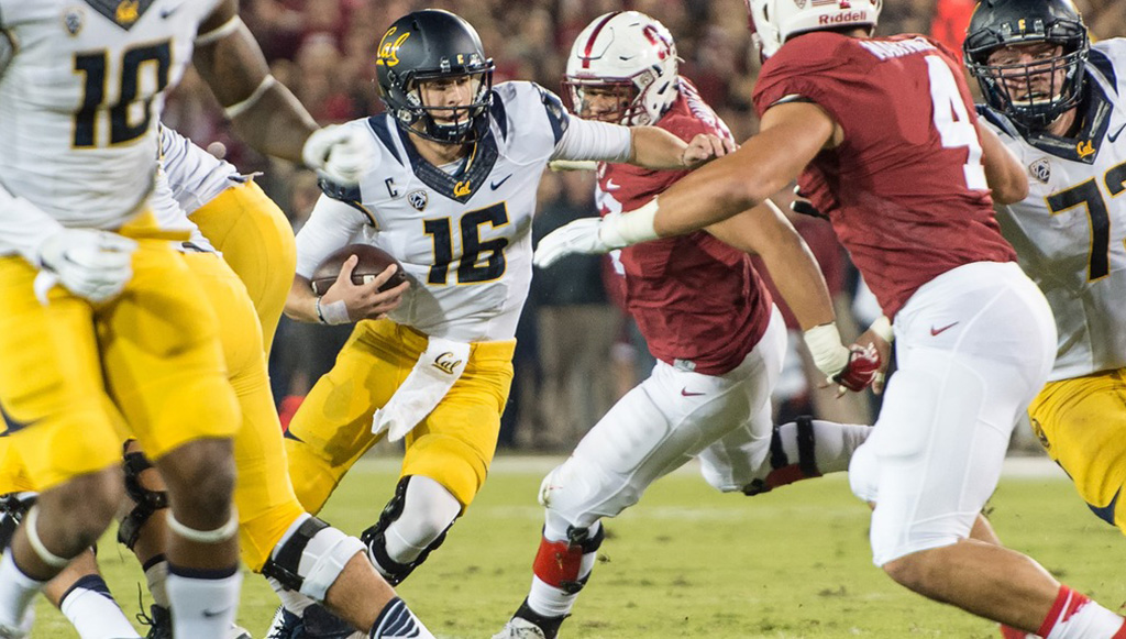 d72ff729 Goff escaping the pocket in a game against rival Stanford. (University of  California athletics