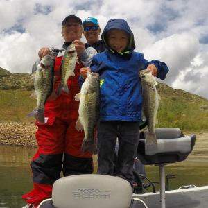 """I'm living the dream life,"" says Kline, with his mom and son after a day of fishing at El Capitan Reservoir near San Diego. (TODD KLINE)"